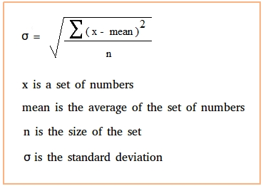 The formula for calculating a standard deviation is: