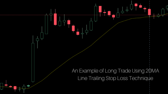 an Example of long trade using 20MA line trailing stop loss technique