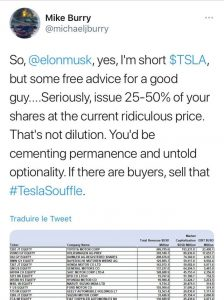 Michael Burry Short Tesla Tweet